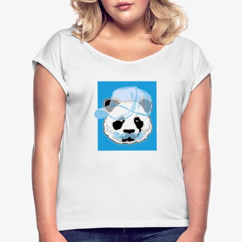 Panda - Cap - Mustache - Frauen T-Shirt mit gerollten Ärmeln