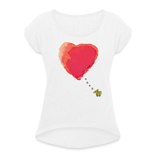 Janoschs Tigerente hat nur Liebe im Sinn MP - Frauen T-Shirt mit gerollten Ärmeln