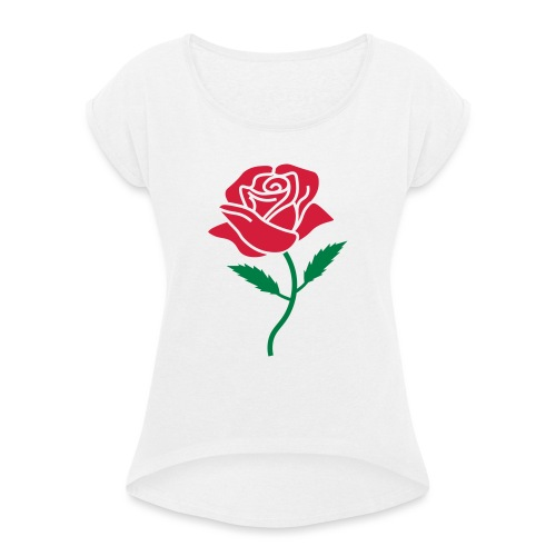 rosecolor - Vrouwen T-shirt met opgerolde mouwen
