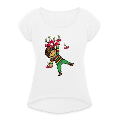 08 kinder kapuzenpullover hinten - Frauen T-Shirt mit gerollten Ärmeln