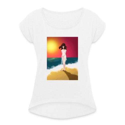 Lipiec - Koszulka damska z lekko podwiniętymi rękawami