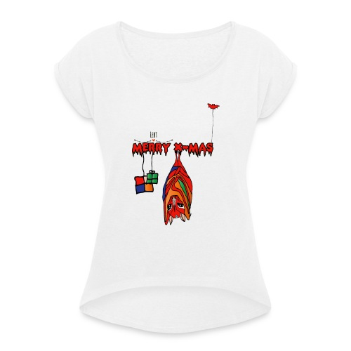 Merry X-MAS - Frauen T-Shirt mit gerollten Ärmeln