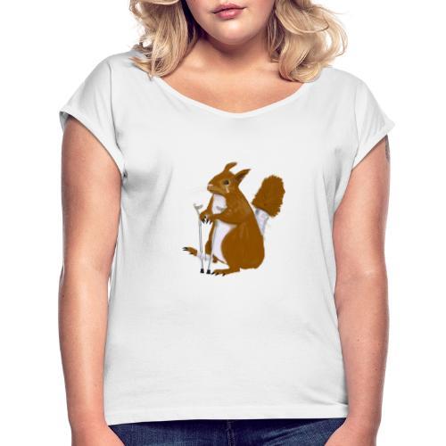 Ekorrn satt i grann - T-shirt med upprullade ärmar dam