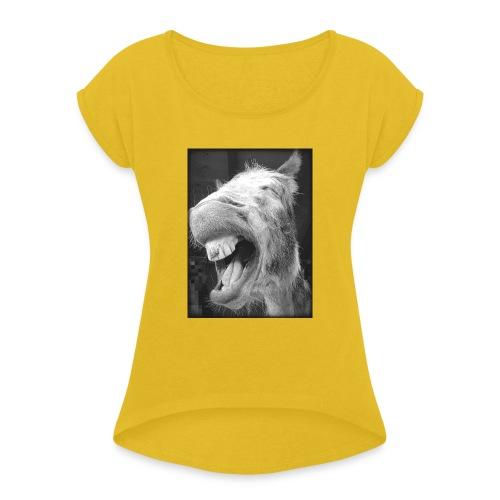 lachender Esel - Frauen T-Shirt mit gerollten Ärmeln