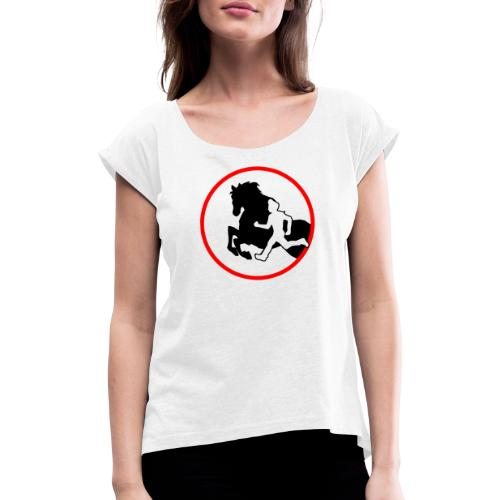 Horse Agility Logo - Frauen T-Shirt mit gerollten Ärmeln
