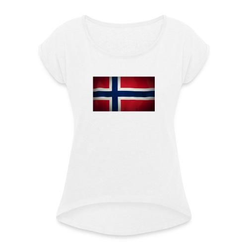 Norsk Flagg - T-skjorte med rulleermer for kvinner