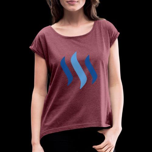 steem logo - Frauen T-Shirt mit gerollten Ärmeln