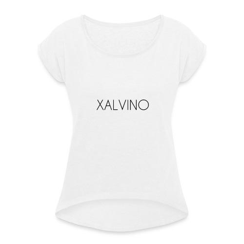 Xalvino (Black) - Vrouwen T-shirt met opgerolde mouwen