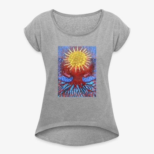 Niebiańskie Drzewo - Koszulka damska z lekko podwiniętymi rękawami