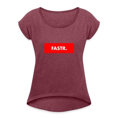 RED BOX TEXT - Vrouwen T-shirt met opgerolde mouwen