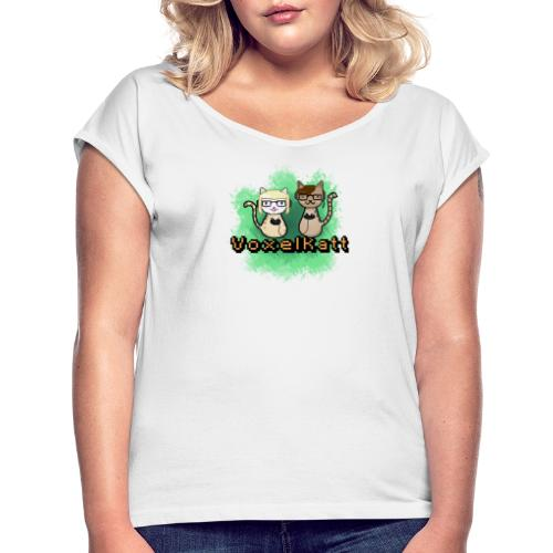 Voxelkatt retro logo - T-shirt med upprullade ärmar dam