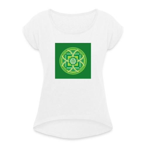 Anahata - Heart Chakra - Naisten T-paita, jossa rullatut hihat