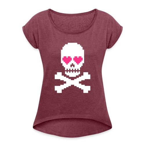Skull Love - Vrouwen T-shirt met opgerolde mouwen