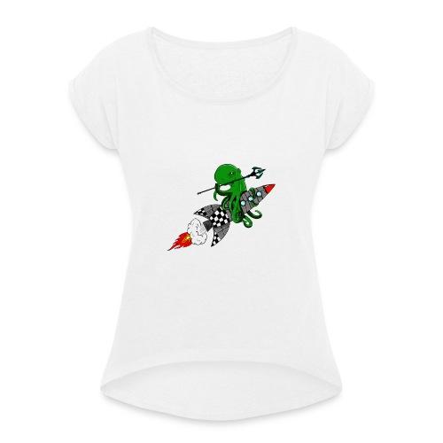 inktvis strijder - Vrouwen T-shirt met opgerolde mouwen
