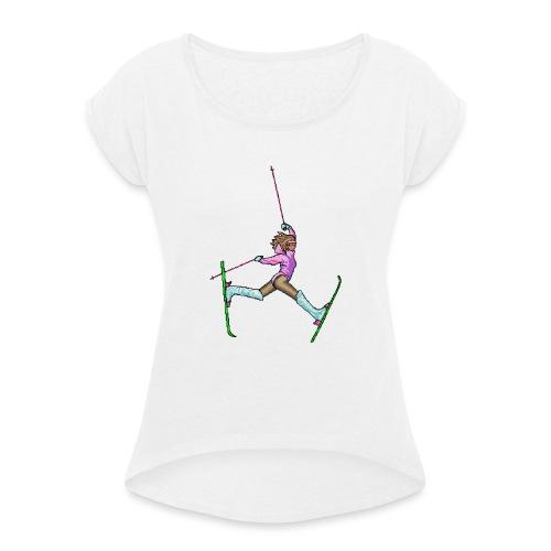 Hot Dogger - Naisten T-paita, jossa rullatut hihat