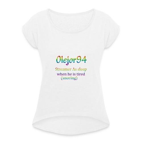 Olejor94 sover snorken English - T-skjorte med rulleermer for kvinner