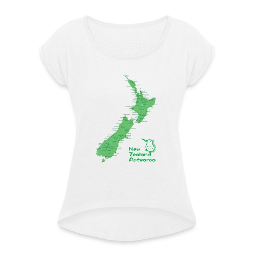 New Zealand's Map - Women's T-Shirt with rolled up sleeves
