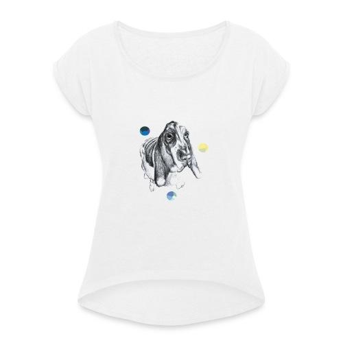 poster dog - T-shirt med upprullade ärmar dam