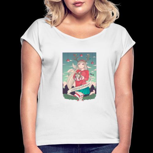 Linneafly Holidays - T-skjorte med rulleermer for kvinner