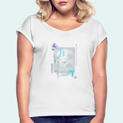 Glitch art - Dame T-shirt med rulleærmer