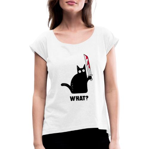Buhurt Cat - Women's T-Shirt with rolled up sleeves