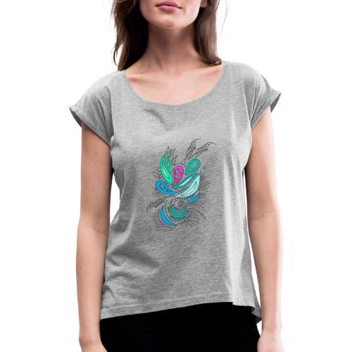 astratto foglie multicolore - Maglietta da donna con risvolti
