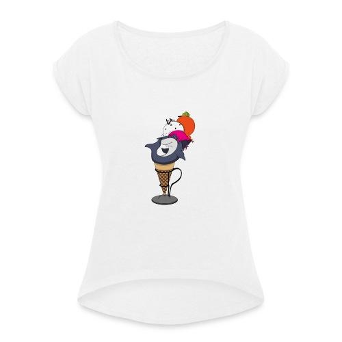 Shark-cream - Maglietta da donna con risvolti
