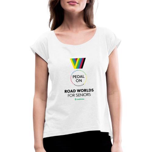 RoadWorlds - Vertical logo - T-skjorte med rulleermer for kvinner