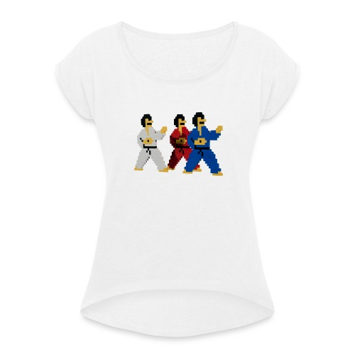 8 bit trip ninjas 1 - Women's T-Shirt with rolled up sleeves