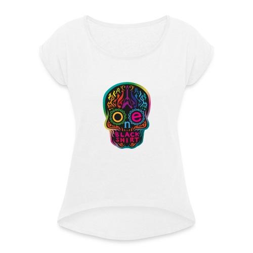 OBS Skull rainbow gif - Frauen T-Shirt mit gerollten Ärmeln