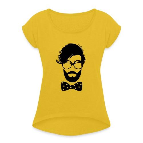 hipster_med_briller_og_butterfly - Dame T-shirt med rulleærmer