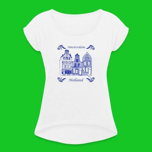 Holland Grachtenpanden Delfts Blauw - Vrouwen T-shirt met opgerolde mouwen