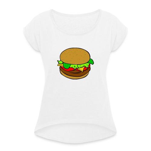 Hamburger motiv - T-shirt med upprullade ärmar dam