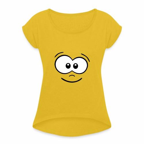 Gesicht fröhlich - Frauen T-Shirt mit gerollten Ärmeln