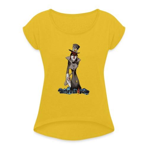 AirbrushDealer - Frauen T-Shirt mit gerollten Ärmeln