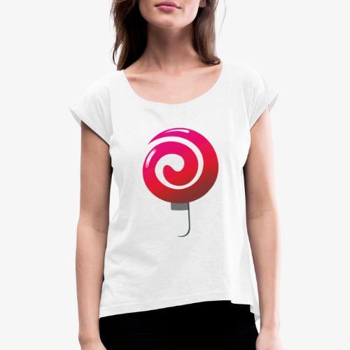 sweetjw2 - Koszulka damska z lekko podwiniętymi rękawami