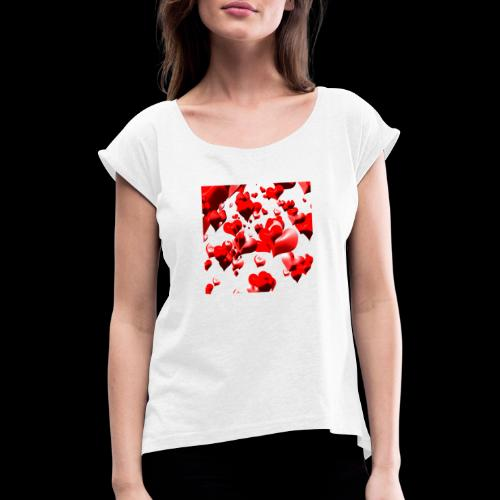hearts - Women's T-Shirt with rolled up sleeves