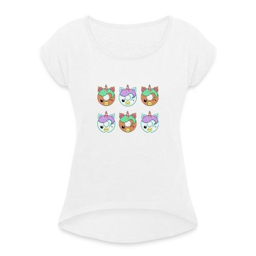 Unicorn Donut - Maglietta da donna con risvolti