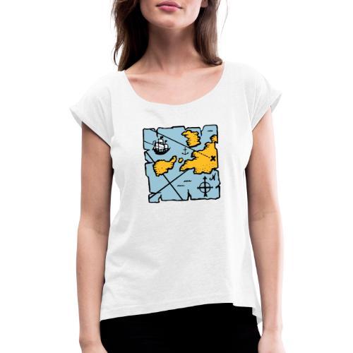 Pirate treasure map - T-shirt à manches retroussées Femme
