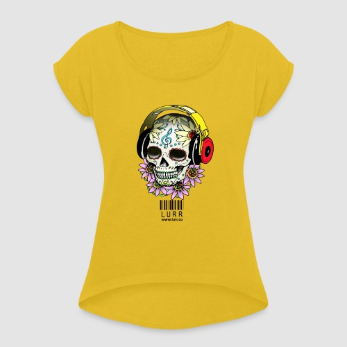 smiling_skull - Women's T-Shirt with rolled up sleeves