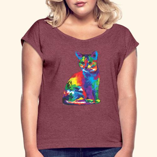 Gato fantástico - Camiseta con manga enrollada mujer