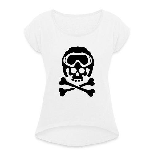 snowboard totenkopf1 - Frauen T-Shirt mit gerollten Ärmeln