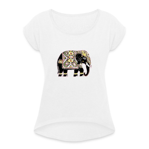 Indian elephant for luck - Women's T-Shirt with rolled up sleeves