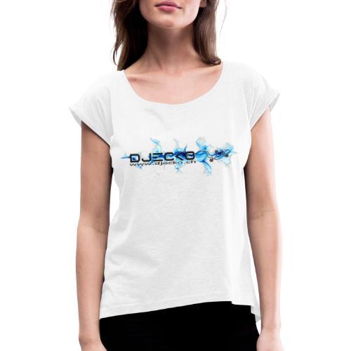 logo wave bleu fond blanc - T-shirt à manches retroussées Femme