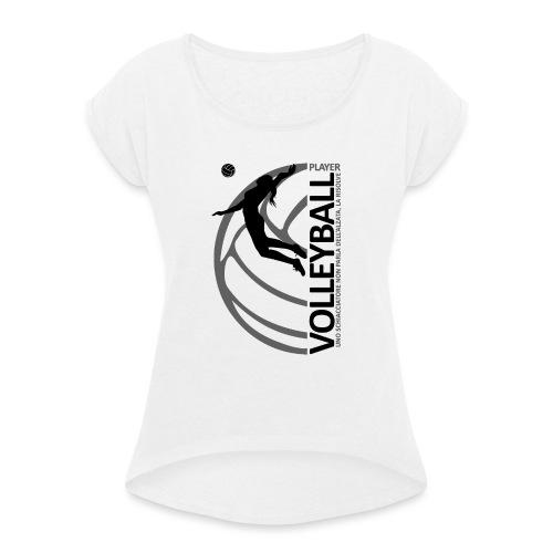 Volleyball player WOMAN black - Maglietta da donna con risvolti