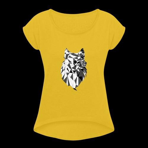 Polygoon wolf - Vrouwen T-shirt met opgerolde mouwen
