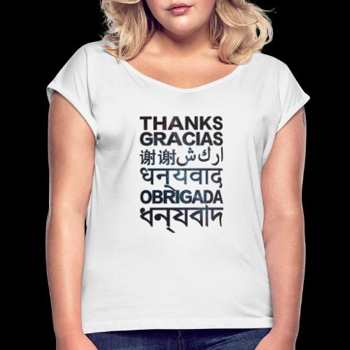 THANKS - Camiseta con manga enrollada mujer