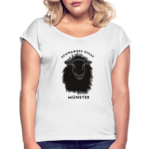 Schwarzes Schaf Logo & Schrift - Frauen T-Shirt mit gerollten Ärmeln