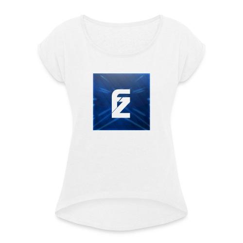 FLeXzZ_Logo_YT - Vrouwen T-shirt met opgerolde mouwen