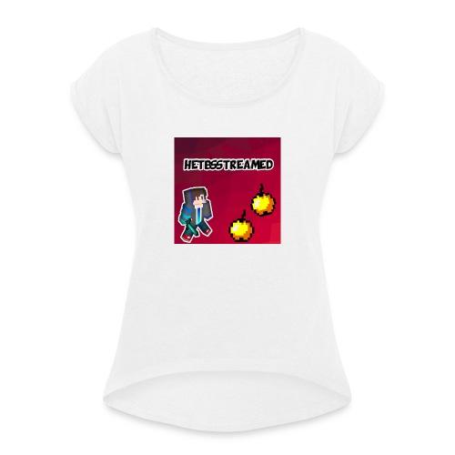 Logo kleding - Vrouwen T-shirt met opgerolde mouwen